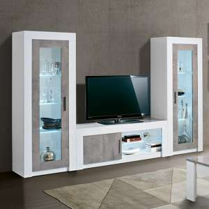Mapar LED Living Room Set In Gloss White And Grey Marble Effect