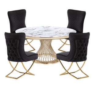 Marcelo White Marble Dining Set With 4 Black Lorenzo Chairs