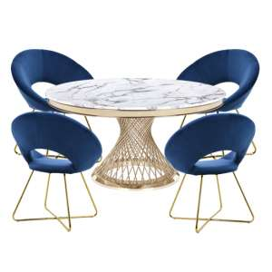 Marcelo White Marble Dining Set With 4 Blue Barclay Chairs