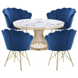 Marcelo White Marble Dining Set With 4 Blue Conrad Chairs