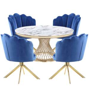 Marcelo White Marble Dining Set With 4 Blue Mario Chairs