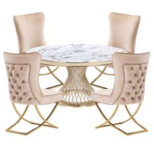 Marcelo White Marble Dining Set With 4 Brown Lorenzo Chairs