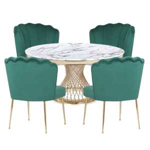 Marcelo White Marble Dining Set With 4 Green Nora Chairs