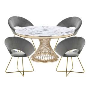 Marcelo White Marble Dining Set With 4 Grey Barclay Chairs