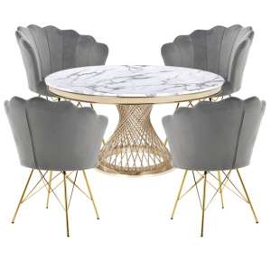 Marcelo White Marble Dining Set With 4 Grey Conrad Chairs