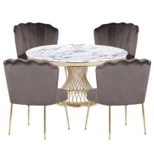Marcelo White Marble Dining Set With 4 Grey Nora Chairs