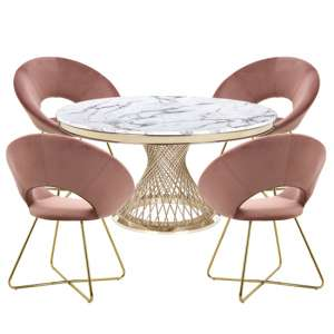 Marcelo White Marble Dining Set With 4 Pink Barclay Chairs