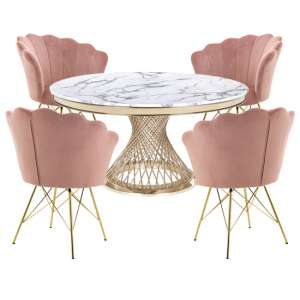 Marcelo White Marble Dining Set With 4 Pink Conrad Chairs