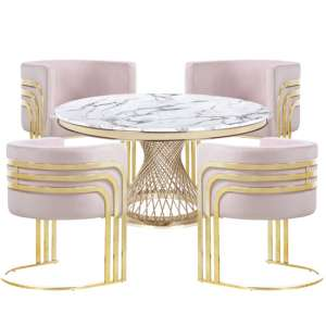 Marcelo White Marble Dining Set With 4 Pink Lula Chairs
