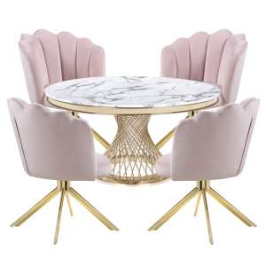 Marcelo White Marble Dining Set With 4 Pink Mario Chairs