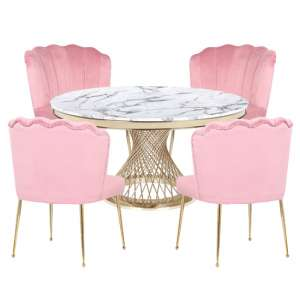 Marcelo White Marble Dining Set With 4 Pink Nora Chairs