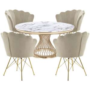 Marcelo White Marble Dining Set With 4 Taupe Conrad Chairs