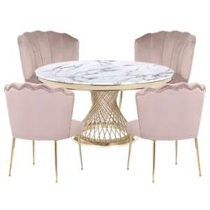 Marcelo White Marble Dining Set With 4 Taupe Nora Chairs