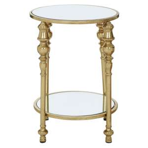Marcia 2 Tier Mirrored Glass Side Table In Gold
