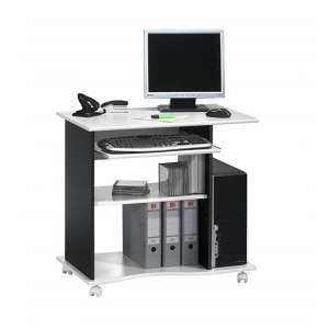 Marconie Wooden Computer Desk Trolley In White And Black