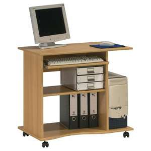 Marconie Wooden Computer Desk Trolley In Beech Finish