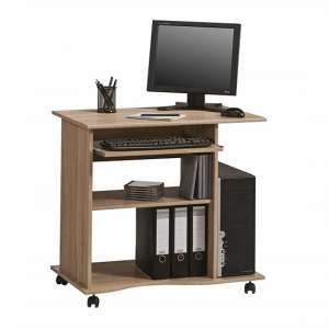 Marconie Wooden Computer Desk Trolley In Sonoma Oak