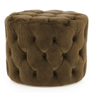 Macrus Fabric Footstool In Brown Velvet Cedar