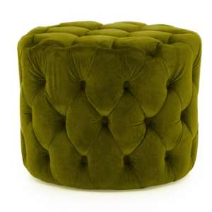 Macrus Fabric Footstool In Green Velvet Moss