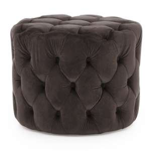 Macrus Fabric Footstool In Navy Velvet Misty