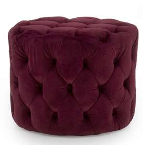 Macrus Fabric Footstool In Red Velvet Crimson