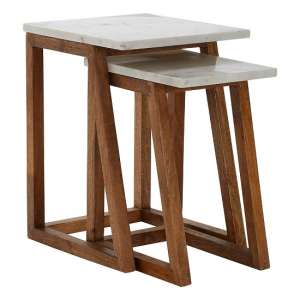 Maren Marble Top 2 Nesting Tables In White With Wooden Legs