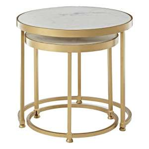 Maren Marble Top 2 Nesting Tables Round With Brass Finish Frame