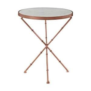 Maren Marble Top Round Side Table With Copper Finish Frame