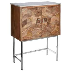 Maren Marble Top Wooden Storage Cabinet With Iron Legs