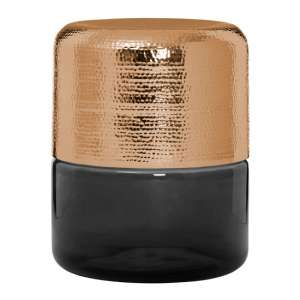 Intan Side Table In Copper With Black Glass Base