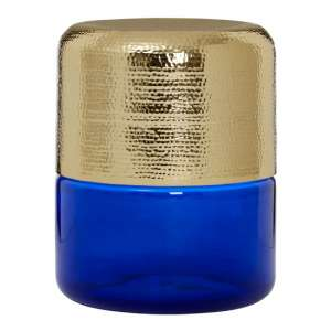 Intan Side Table In Gold With Blue Glass Base