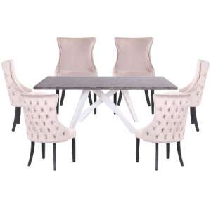 Marigje Wooden Dining Set With 6 Taupe Boston Chairs
