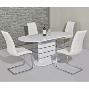 Marila Small Extendable Dining Set In White Gloss 4 Orly Chairs