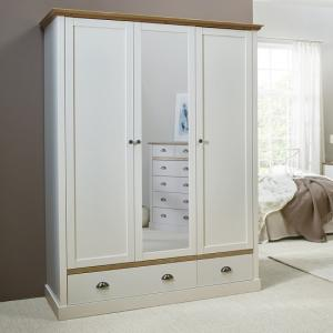 Marina Mirrored Wardrobe In White Pine With 3 Doors