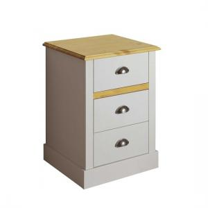 Marina Wooden Bedside Cabinet In Grey Pine With 3 Drawers