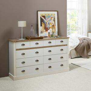 Marina Wooden Chest Of Drawers In White Pine With 10 Drawers