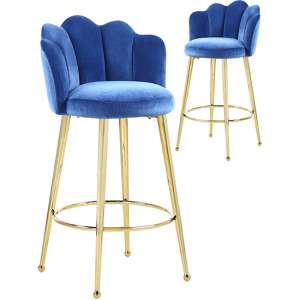 Mario Blue Velvet Bar Stools In Pair With Gold Legs
