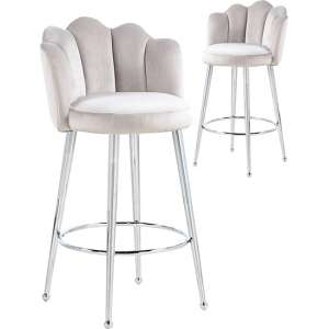Mario Brown Velvet Bar Stools In Pair With Silver Legs