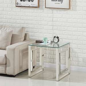 Mario Glass Lamp Table In Clear With Stainless Steel Frame