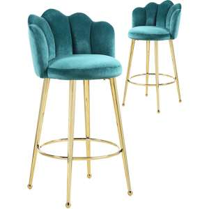 Mario Green Velvet Bar Stools In Pair With Gold Legs