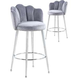 Mario Grey Velvet Bar Stools In Pair With Silver Legs