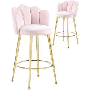 Mario Pink Velvet Bar Stools In Pair With Gold Legs