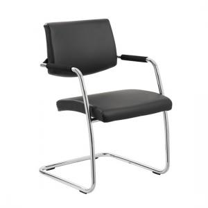 Marisa Office Chair In Black With Cantilever Frame