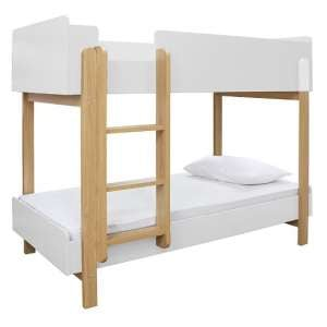 Marisol Wooden Bunk Bed In Matt White And Oak