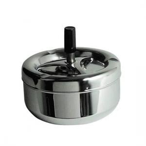 Mark Spinning Ashtray In Chrome With Black Handle