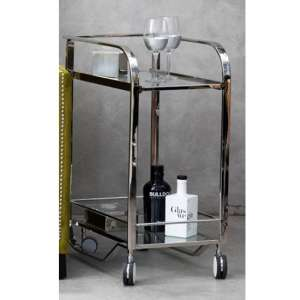 Markeb Clear Glass Shelf Drinks Trolley In Silver