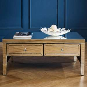 Marnie Mirrored Rectangular Coffee Table With 2 Drawers