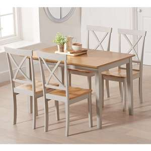 Maro Extending Oak And Grey Dining Table With 4 Chertan Chairs