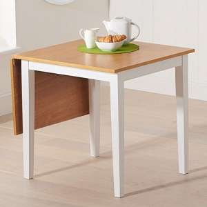Maro Extending Wooden Dining Table In Light Oak And White