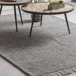 Marqos Polyster And Wool Fabric Rug In Silver